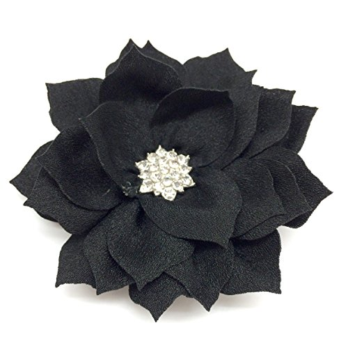 PEPPERLONELY 10PC Set Black Flat Back Rhinestone Button Center Fabric Flowers, 3 Inch by PEPPERLONELY