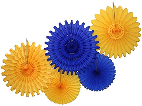 Tissue Paper Fan Collection - 5 Large Assorted Fans (Dark Blue Gold Party, 18 and 13 -