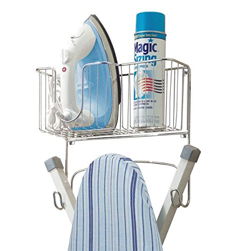 mDesign Ironing Board Holder with Storage Basket for Clothing Iron - Wall Mount, Chrome