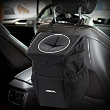 Waterproof Car Trash Can,Acekool Car Trash Bag with Lid and Storage Pockets Collapsible Car Garbage Can Adjustable Strap Fits to Headrest or Door Handle (10 PCS Garbage Bags Inclued)