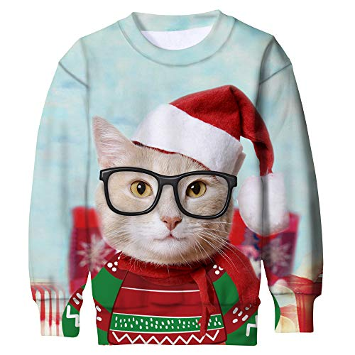 Funnycokid Kids Ugly Christmas Sweatshirt Jumper 3D Printed Funny Novelty Cats Boys Girls X-mas Fleece Pullover Sweatshirts ()