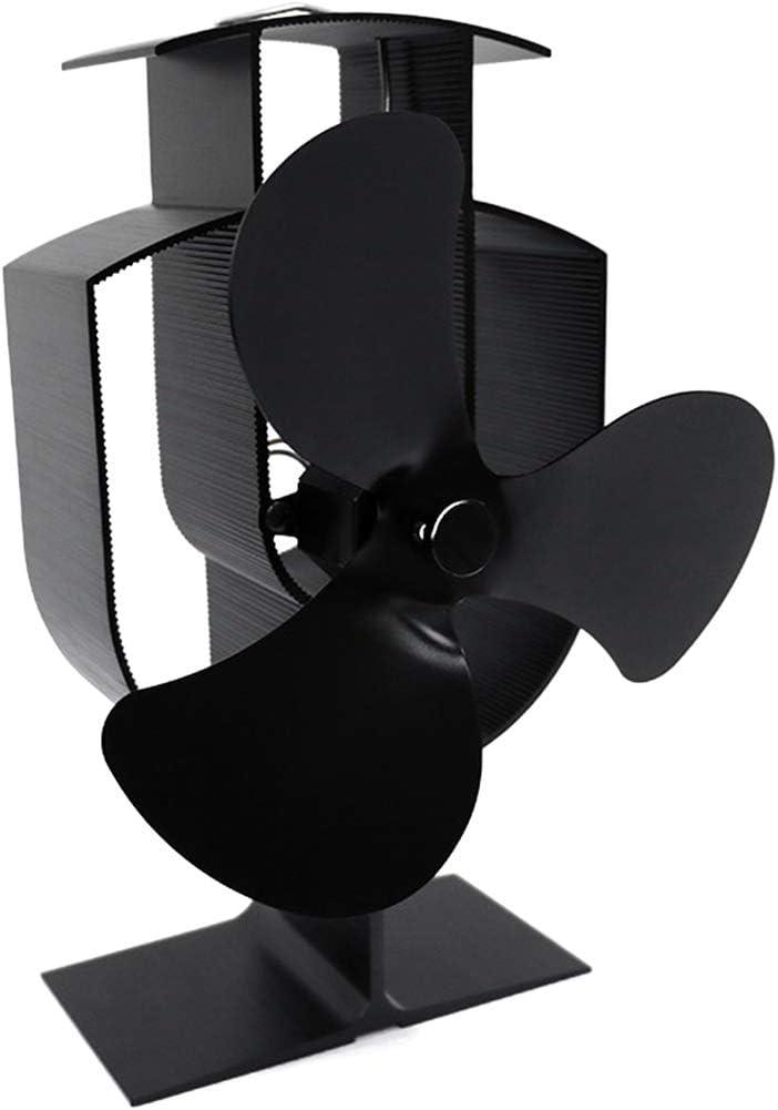 ONGLOLH 3 Palas del Ventilador Estufa Estufa de Calor accionada Ventilador para Aficionados Operación de Madera/Log Burner silencioso Eco Friendly Calefacción Estufas,Black-13.5 * 10.3 * 19.7CM
