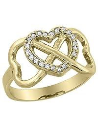 14K Yellow Gold Diamond Infinity Heart Ring, sizes 5 - 10