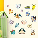 New 14Pcs ICONIC POKEMON Peel and Stick WALL DECALS Boys Room Stickers Pikachu Decor