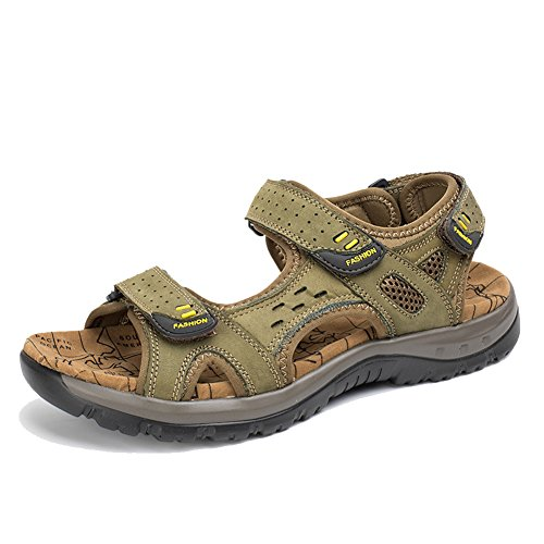 Strap Green Beach Hiking Sandals Leather Womens AGOWOO Ankle twn1BF4q