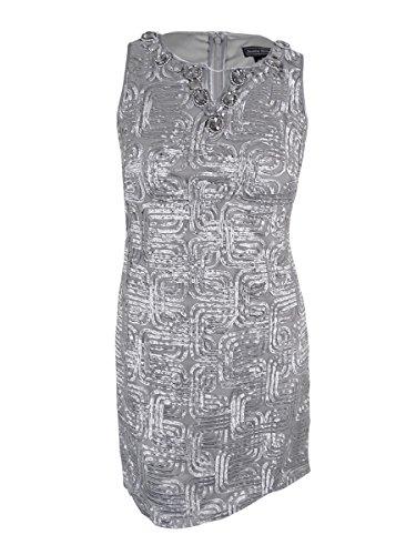 Jessica Howard Women's Embellished Neckline Shift Dress (Silver, - Neckline Embellished Dress