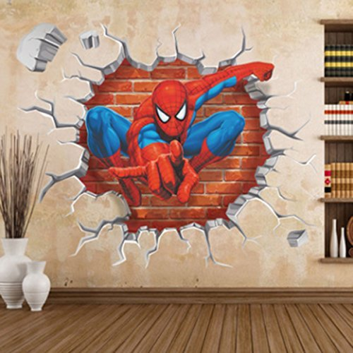 Jiahui Brand DIY Removable Spiderman 3D Cracked Children Themed Art Boy Room Wall Sticker Home Decal, Peel and Stick Wall Decal for Kids Room Wall Decor by Jiahui Brand (Image #3)