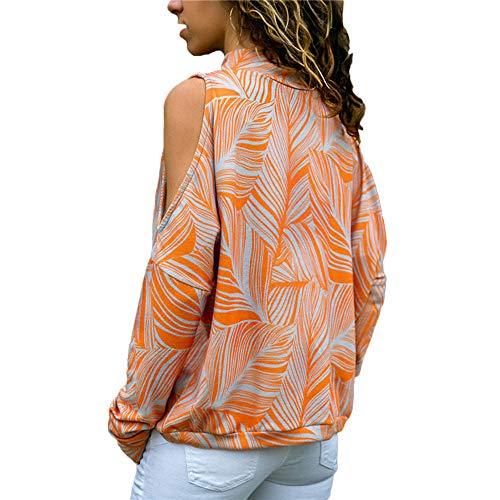 ❤️ Manga Para Off Tefamore Moda Elegante Tops Estampado Fiesta Naranja Hombro Blusas Camisas Mujer Pullover Mujer Camiseta Larga Blusa vnrpvd8x