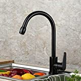 FZHLR Black 360 Rotating Kitchen Faucet Single Handle Kitchen Sink Mixer Kitchen Crane Water Tap Hot And Cold Kitchen Mixer