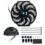 8milelake 12V 80W High Performance Black Slim Electric Cooling Radiator Fan with Fan Mounting Kit( 12 inch)