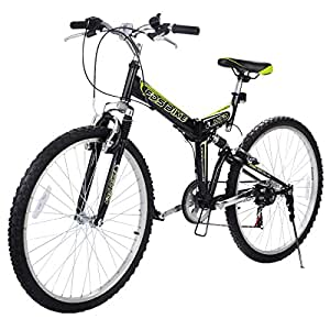 "Gracelove 26"" Folding 6 Speed Mountain Bike Bicycle Shimano Bike Hybrid Suspension,Black"