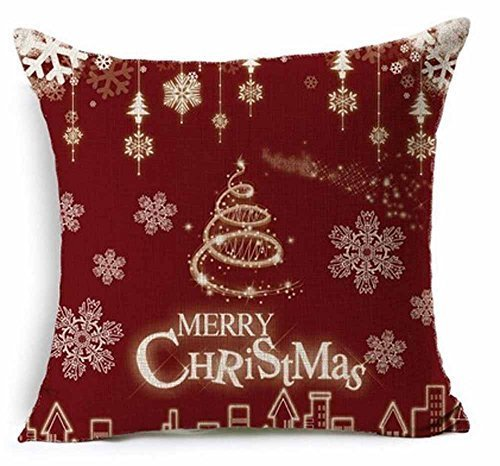 Outdoor Holiday Pillow (Cotton Linen Merry Christmas Gift Red Design Christmas Tree and Snowflake New Decorative Pillowcase Throw Pillow Cushion Cover Square 18