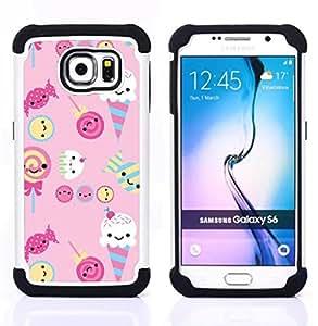 """Samsung Galaxy S6 / SM-G920 - 3 en 1 impreso colorido de Altas Prestaciones PC Funda chaqueta Negro cubierta gel silicona suave (Helado del rosa del caramelo Dulces Lollipop"""")"""
