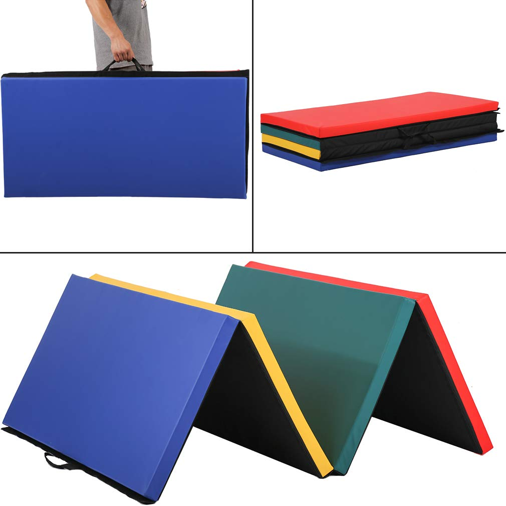 4'x8x2'' Thick Folding Panel Gymnastics Mat Gym Fitness Exercise Multicolor