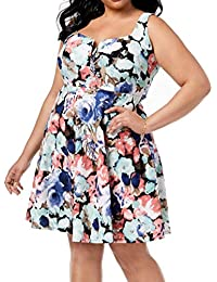 cfc6c96320be Womens Plus Floral Print Sweetheart Neck Mini Dress · Soprano