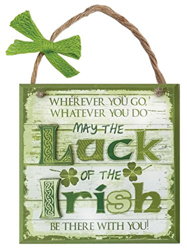 Carrolls Irish Gifts Rustic Ireland 'May The Luck Of The Irish Be There With You' Wooden Plaque ()