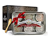 The Natural Sea Salt Sampler - Perfect as a Gift Set - Reusable Tins & Bamboo Spoon - Himalayan Pink, New Zealand, French Grey, Cyprus Flake Pyramid, Portuguese, Sicilian - 1/2 oz. each, 3 total oz.