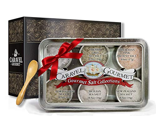 (The Natural Sea Salt Sampler - Perfect as a Gift Set - Reusable Tins & Bamboo Spoon - Himalayan Pink, New Zealand, French Grey, Cyprus Flake Pyramid, Portuguese, Sicilian - 1/2 oz. each, 3 total oz.)
