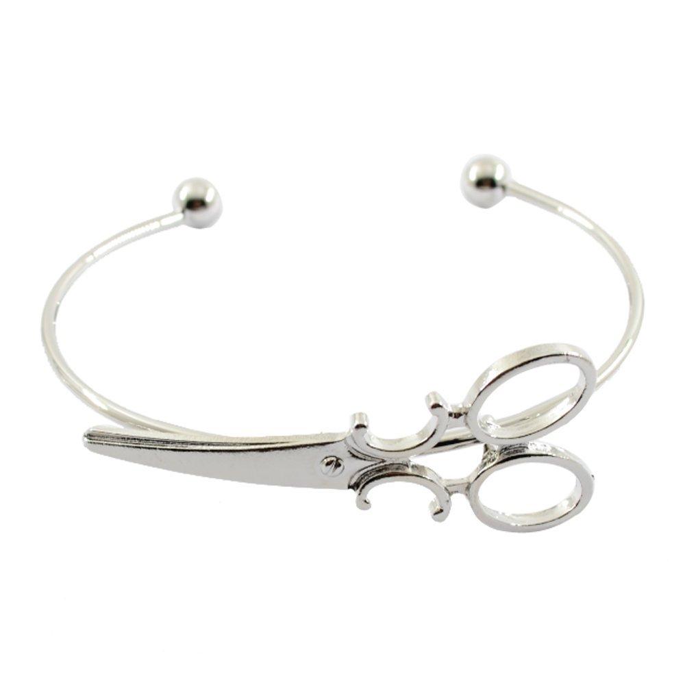 Cuff Bangle Bracelets Personalized Mini Scissors Detail Hairdresser Shears Bangle Charm Bracelets Open Wire Bangle Fashion Friendship Jewelry Gifts for Women Girl (Silver)