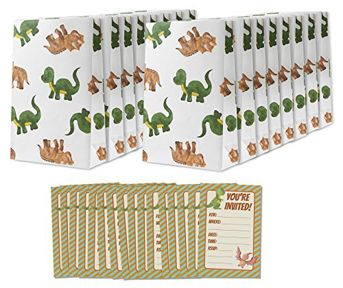 16 Pack Kids Birthday Party Invitations Dinosaur Goody Treat Bags - Party Favor Bags & Birthday Party Invites (Dinosaur Birthday Party Invitation)