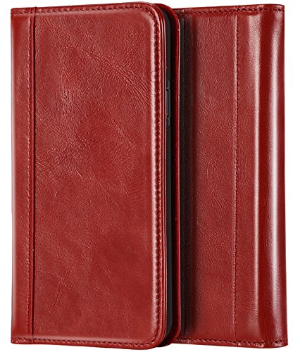 """Procase Genuine Leather Case for iPhone XR, Vintage Wallet Folding Flip Case with Kickstand Card Holder Protective Cover for Apple iPhone XR 6.1"""" (2018 Release) -Red from Procase"""