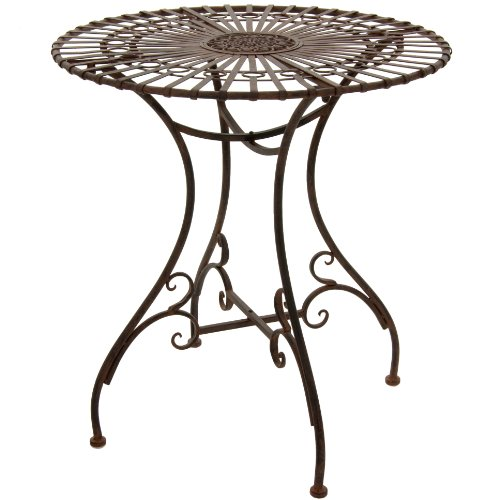 Oriental Furniture Rustic Garden Table – Rust Patina