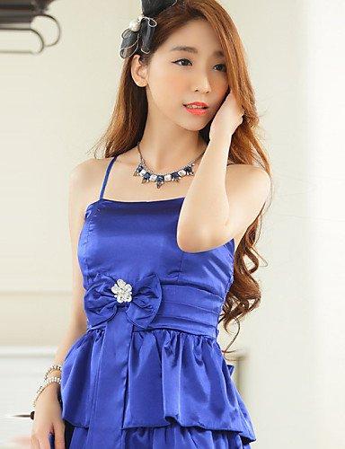 PU&PU Robe Aux femmes Grandes Tailles Grandes Tailles / Soirée Mi-long Autres / Satin , blue-one-size , blue-one-size