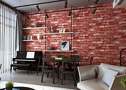 Color : Rouge, Size : 0.53mX10m Vintage Texture Briques Papier Peint 3D for La D/écoration Int/érieure En Relief Papier Peint Rouleaux for La Chambre Salon Canap/é TV Fond