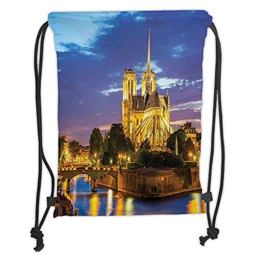 Custom Printed Drawstring Sack Backpacks Bags,Paris Decor,Notre Dame Cathedral at Dusk in Paris France Riverside Scenery Reflection,Soft Satin,5 Liter Capacity,Adjustable String Closure,The Stylish - Gym Notre Bag Dame