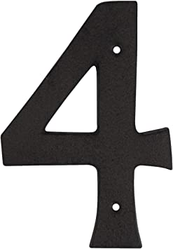 Rustic BROWN Cast Iron Metal House Number Street Address 4 1//2 INCH Phone # 7
