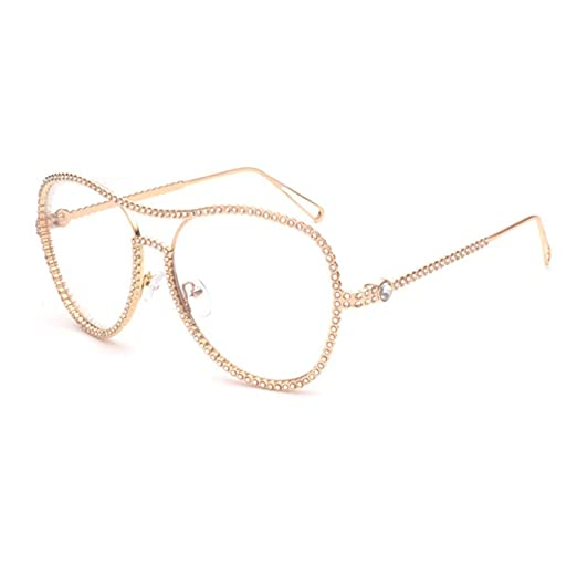 d95343d4ef7 Doober Aviator Sunglasses Womens Rhinestone Decorated Retro big frame  sunglasses (gold 1)