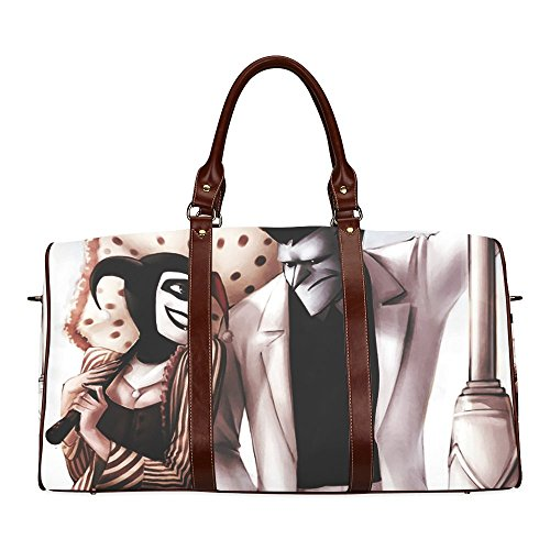 Joker and Harley Quinn Custom Waterproof fabric Two-sided Printing Large Duffle Sports/Travel Bag