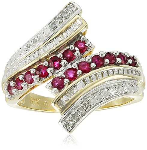 10k Yellow Gold Genuine Ruby and Diamond Ring (1/10 cttw, I-J Color, I2-I3 Clarity), Size 7