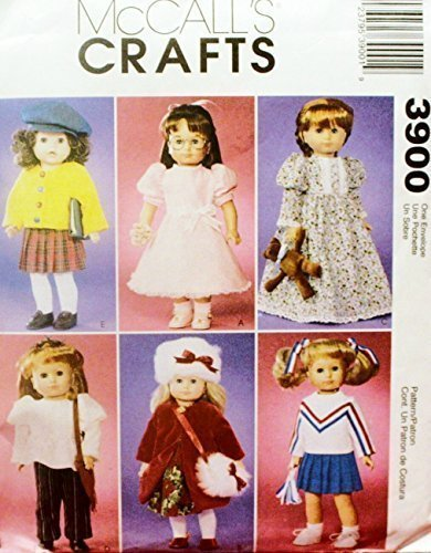 "McCalls Crafts 3900 Pattern Dresses Cheerleader Gown Dress Peasant Blouse Pants Pleated Skirt Coat Fur Hat/muff Fits American Girl Dolls and 18"" Dolls Like Molly Julie Samantha Nellie"
