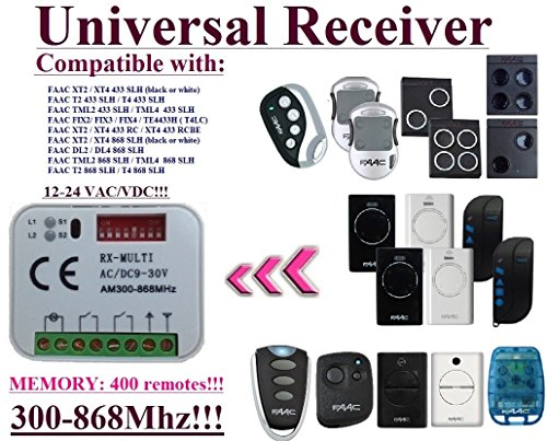 Universal receiver Compatible with FAAC XT2/XT4 433 SLH, T2/T4 433 SLH, TML2/TML4 433 SLH, XT2/XT4 868 SLH, DL2/DL4 868 SLH, T2 868 SLH, T4 868 SLH, TML2/TML4 868 SLH remotes. 2-ch 12-24V receiver.