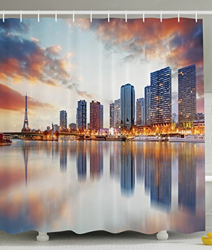 Landscape Decor Shower Curtain by Ambesonne, Paris Skyline Reflection on the River with Eiffel Tower Background Sunset Evening View, Polyester Fabric Bathroom Set with Hooks, 69 X 70 Inch, (Evening In Paris Theme Party)