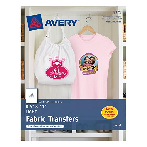 Avery T-shirt Transfers for Inkjet Printers, 8.5 x 11 Inches, for use with White or Light Colored Fabric, 6 Sheets - X Iron Buy