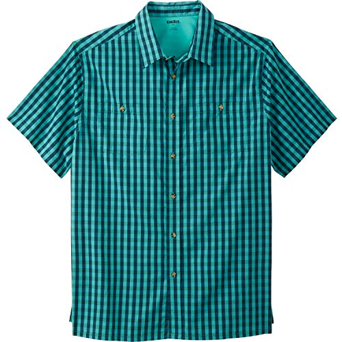 KingSize Men's Big & Tall Short-Sleeve Plaid Sport Shirt, Midnight Teal Check Big-5XL