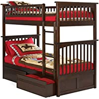 Columbia Bunk Bed with 2 Flat Panel Bed Drawers, Twin Over Twin, Antique Walnut