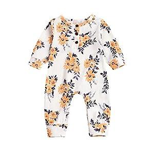 0-2 Years Newborn Floral Print Romper Toddler Cotton Jumpsuit Pyjamas(Orange,60(0-3 Months))