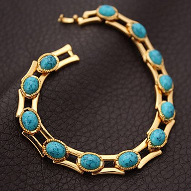 JEW JEWLY Turquoise Bracelets Bangles For Women 18K Real Gold Plated Bangles Turkey Stone Jewelry