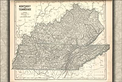 42x63 Poster; Map Of Kentucky And Tennessee 1842