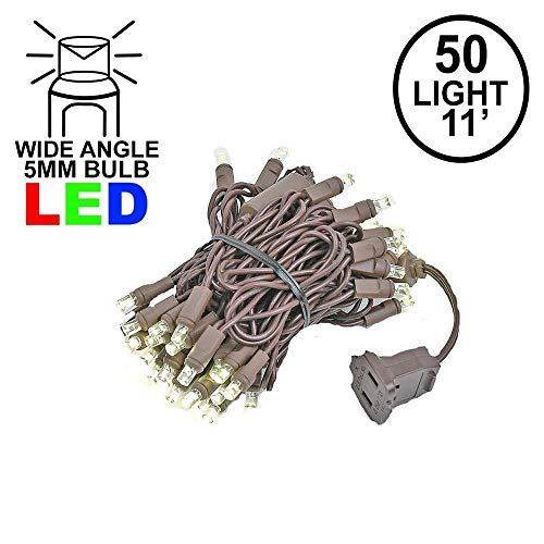 Novelty Lights 50 Light LED Christmas Mini Light Set, Outdoor Lighting Party Patio String Lights, Warm White, Brown Wire, 11 ()