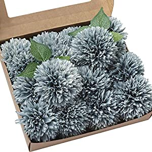 "Ling's moment Vintage Blue 4"" Flower Head Artificial Teddy Bear Sunflower Pack of 16 Ball Dahlia Silk Chrysanthemum Pompom Ball Hydrangea Flower with Stem for Home Garden Table Centerpieces Decor 1"