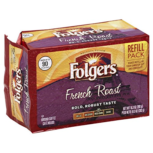 Folgers French Roast Ground Coffee Brick, Medium-Dark Roast, 10.3 Ounce (Pack of 12)