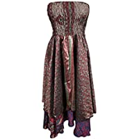 Mogul Womens Boho 2 In 1 Strapless Dress Maxi Skirts Hippie Recycled Printed Vintage Sari Two Layer