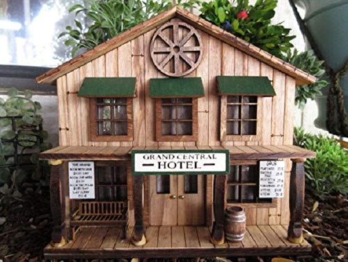 Grand Central Hotel, Old West Miniature Rustic Building, EB Farnum Deadwood American train exhibit -