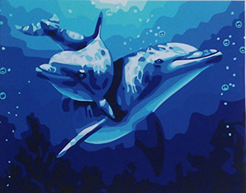 Greek Art Paintworks Paint Color By Number Kit,Dolphin Love,16-Inch by 20-Inch