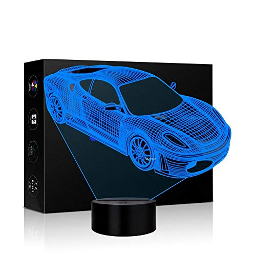 Car Night Light,Beside Lamp 7 Colors Change Kids Night Light Optical Illusion Lamps for Kids Lamp As a Gift Ideas for Boys or Kids (Sports car)