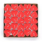 G2PLAY Heart Shaped Smokeless Candles, 50PCs Set Romantic Love Candle Bulk for Wedding, Birthday, Party, Halloween, Christmas, Festival (Red)